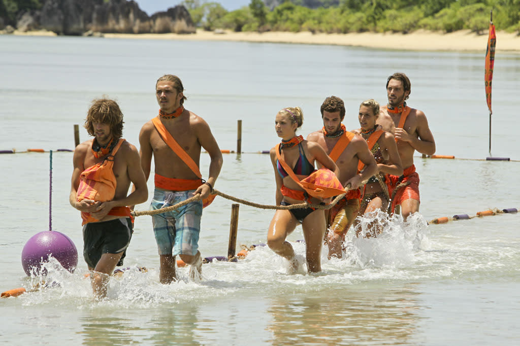 """Tubby Lunchbox"" - Erik Reichenbach, Malcolm Freberg, Andrea Boehlke, Edward ""Eddie"" Fox, Sherri Biethman and Reynold Toepfer of the Gota Tribe compete during the seventh episode of ""Survivor: Caramoan - Fans vs. Favorites."""