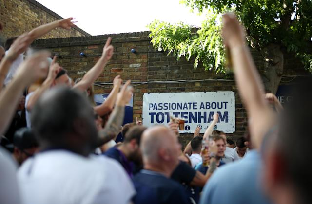 Tottenham Hotspur fans ahead of watching the UEFA Champions League Final at The Bricklayers Pub, London. (Photo by Steven Paston/PA Images via Getty Images)