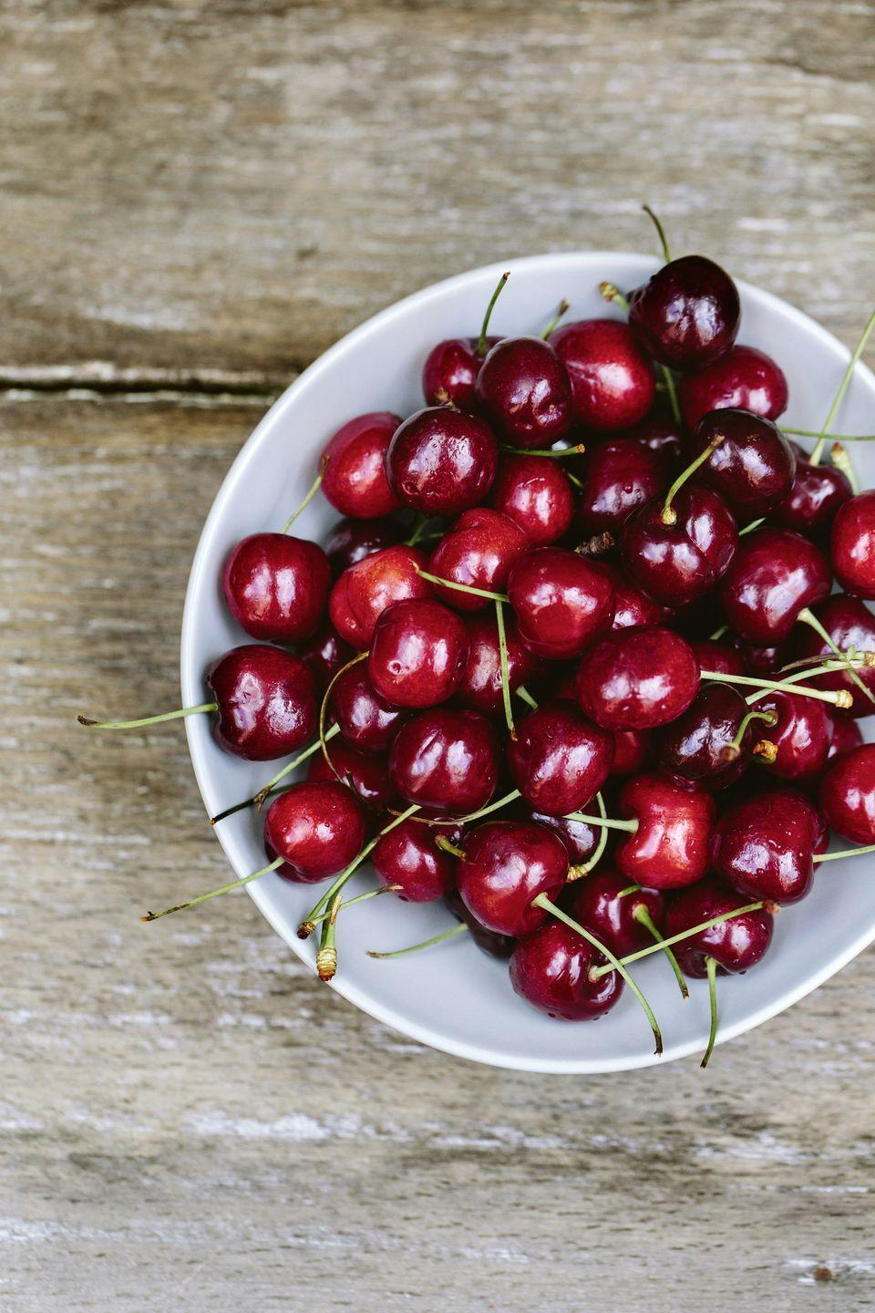 "<p>A cherry gets its color from anthocyanin, a type of phytonutrient with powerful antioxidant capabilities. Try adding frozen cherries to <a href=""https://www.goodhousekeeping.com/food-recipes/healthy/g4060/healthy-smoothie-recipes/"" rel=""nofollow noopener"" target=""_blank"" data-ylk=""slk:morning smoothies"" class=""link rapid-noclick-resp"">morning smoothies</a> or tossing dried, unsweetened cherries with salads.</p>"