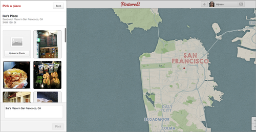 Pinterest screenshot showing map of San Francisco