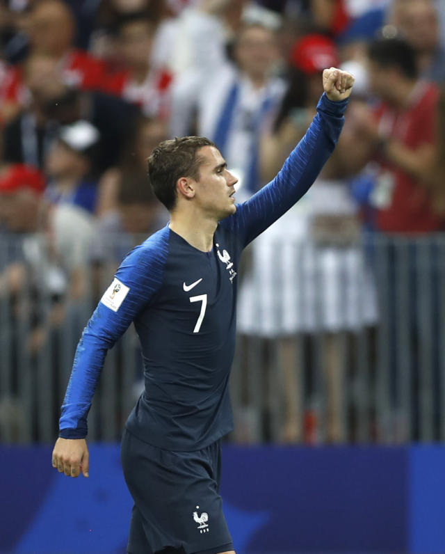 France's Antoine Griezmann celebrates after scoring his sides 2nd goal from the penalty spot during the final match between France and Croatia at the 2018 soccer World Cup in the Luzhniki Stadium in Moscow, Russia, Sunday, July 15, 2018. (AP Photo/Francisco Seco)