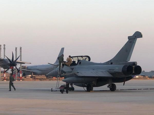 French Air Force Rafale fighter jet at the Jodhpur air base for the Ex Desert Knight. (Photo/ANI)