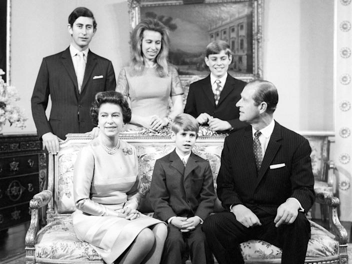 The Queen, Prince Philip and their children at their silver wedding anniversary in 1972PA