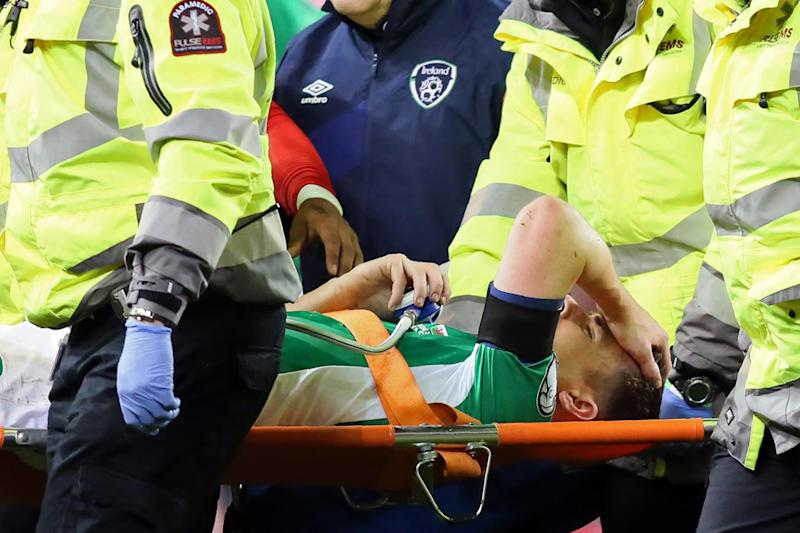 Horror injury | Seamus Coleman is due to undergo surgery after suffering a double leg break: PAUL FAITH/AFP/Getty Images