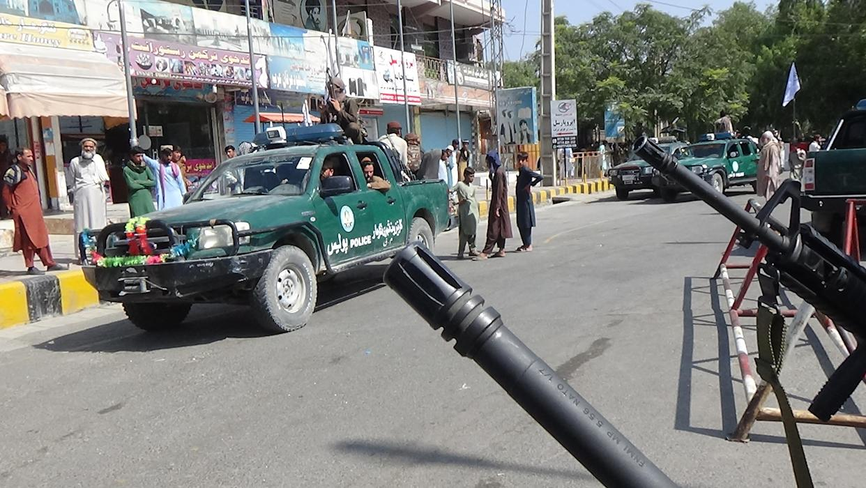 JALALABAD, AFGHANISTAN - AUGUST 17: Taliban members patrol the streets of Jalalabad city, Afghanistan on August 17, 2021, as the Taliban takes control of Afghanistan after President Ashraf Ghani fled the country. (Photo by Stringer/Anadolu Agency via Getty Images)