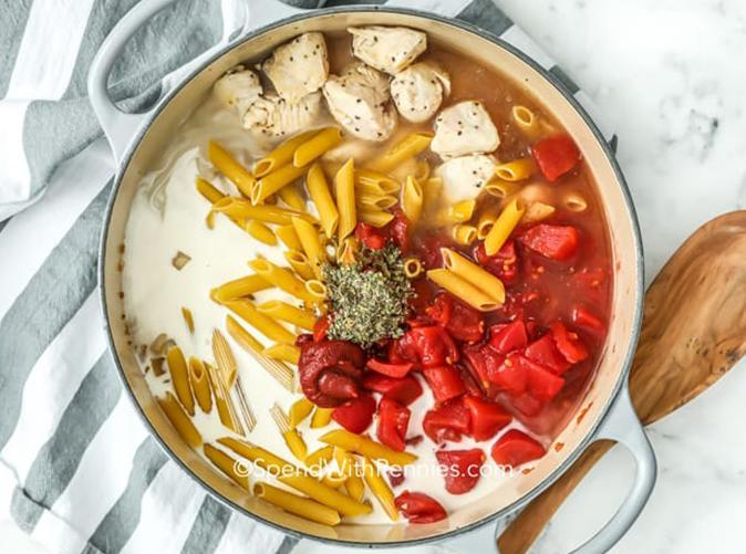 """<h2>22. One-Pot Pasta with Chicken</h2> <p>Pasta without waiting for water to boil? We're there.</p> <p><a class=""""link rapid-noclick-resp"""" href=""""https://www.spendwithpennies.com/one-pot-chicken-pasta/"""" rel=""""nofollow noopener"""" target=""""_blank"""" data-ylk=""""slk:Get the recipe"""">Get the recipe</a></p>"""