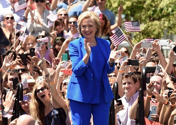 Hillary Clinton officially launches her campaign for the Democratic presidential nomination during a speech on Roosevelt Island in New York (AFP Photo/Timothy A. Clary)