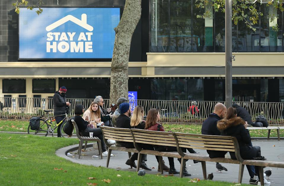 A stay at home sign in Leicester Square, London, on the third day of a four week national lockdown for England to combat the spread of Covid-19. (Photo by Yui Mok/PA Images via Getty Images)
