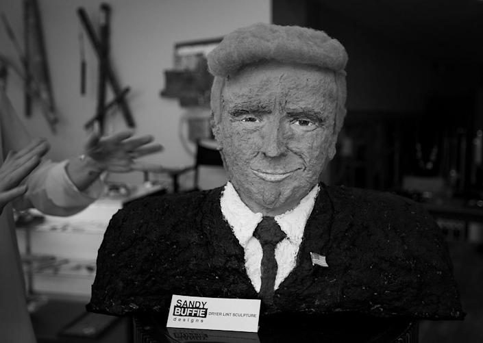 <p>A dryer-lint bust of Donald Trump is on display in Cleveland. (Photo: Khue Bui for Yahoo News)</p>