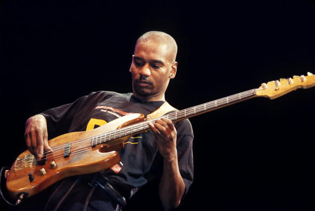 <p>Victor Bailey was the bassist of Weather Report before launching a solo career. He was 56 when he died November 11. — (Pictured) Victor Bailey performing on stage in 1999. (Andrew Lepley/Redferns via Getty Images) </p>