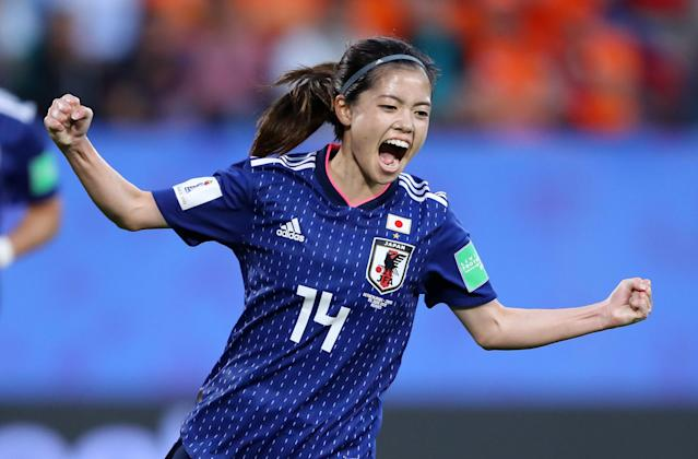 Yui Hasegawa of Japan celebrates after scoring her team's first goal during the 2019 FIFA Women's World Cup France Round Of 16 match between Netherlands and Japan at Roazhon Park on June 25, 2019 in Rennes, France. (Photo by Richard Heathcote/Getty Images )