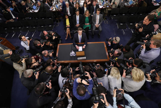 Facebook CEO Mark Zuckerberg arrives to testify before a joint hearing of the Commerce and Judiciary Committees on Capitol Hill in Washington, Tuesday, April 10, 2018. (AP Photo/Pablo Martinez Monsivais)