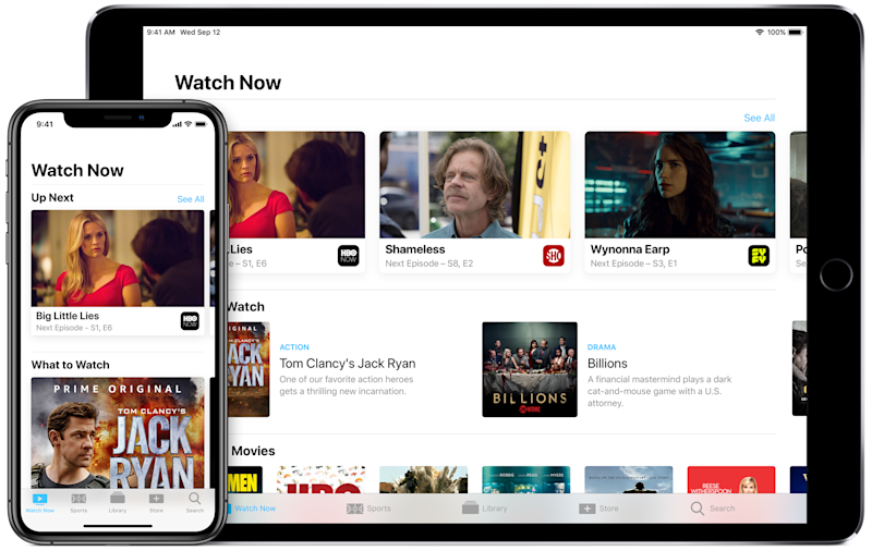 Apple's TV app on iPhone and iPad.