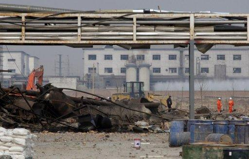 The site of a deadly blast last week at a chemical factory near near Shijiazhuang city