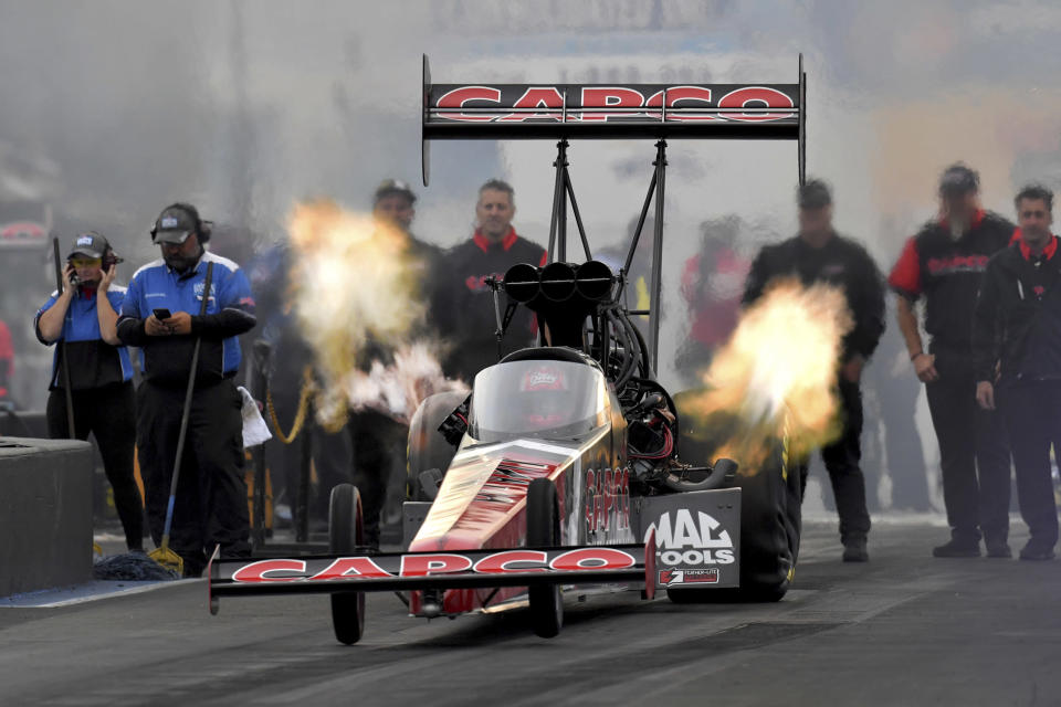 In this photo provided by the NHRA, Billy Torrence drives in Top Fuel qualifying Friday, June 11, 2021, at the NHRA New England Nationals drag races in Epping, N.H. (Auto Imagery/NHRA via AP)