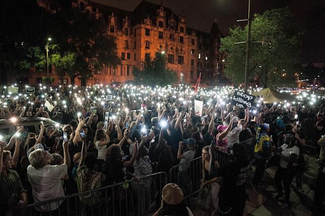 Protesters gather on Monday outside the St. Louis City Justice Center, where demonstrators arrested the prior night were still being held. (Joseph Rushmore for HuffPost)