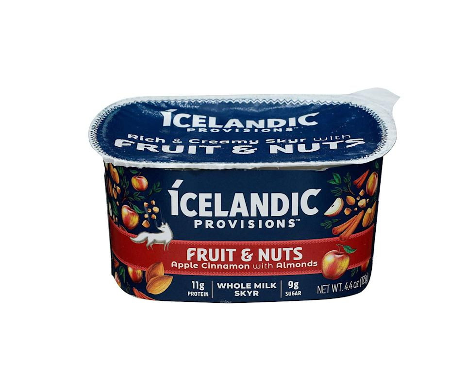 """<p><strong>Icelandic Provisions</strong></p><p>amazon.com</p><p><strong>1.99</strong></p><p><a href=""""https://www.amazon.com/dp/B089N4GJD4?tag=syn-yahoo-20&ascsubtag=%5Bartid%7C2141.g.36664197%5Bsrc%7Cyahoo-us"""" rel=""""nofollow noopener"""" target=""""_blank"""" data-ylk=""""slk:Shop Now"""" class=""""link rapid-noclick-resp"""">Shop Now</a></p><p>This thick and creamy Icelandic-style yogurt is technically a strained cheese that boasts a protein-rich nutrition profile. We love this apple cinnamon with almonds option, which tastes like autumn in a cup.</p><p><em><strong>Nutrition per serving: </strong>170 cal, 11 g protein, 13 g carb, 0 g fiber, 9 g sugars (6 g added sugars), 8 g fat (5 g sat fat), 40 mg sodium</em></p>"""