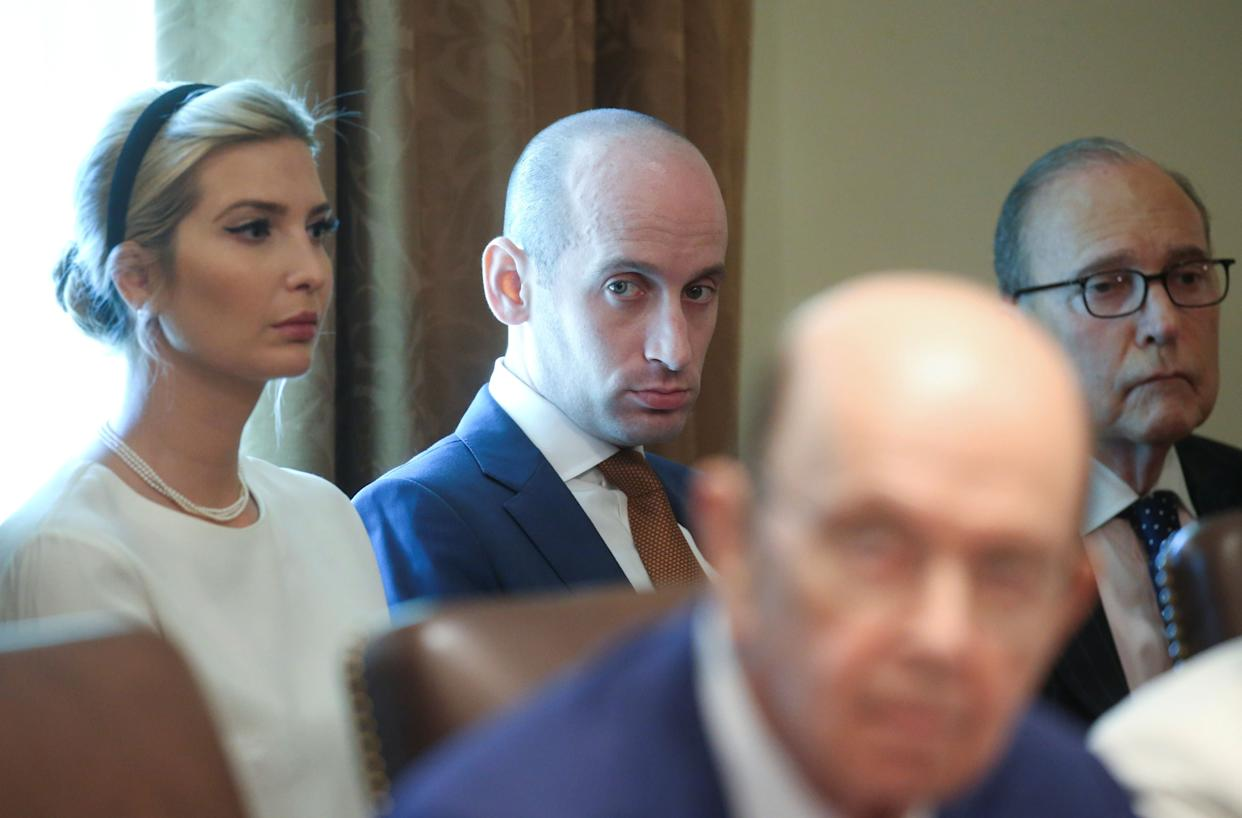 White nationalist White House adviser Stephen Miller during a cabinet meeting earlier this year. (Photo: Leah Millis / Reuters)