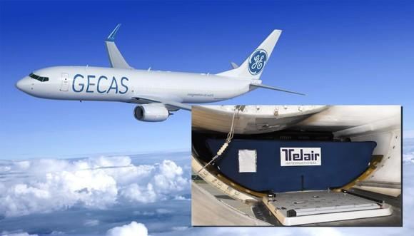 An airplane in the GECAS livery, along with an interior view of the cargo compartment