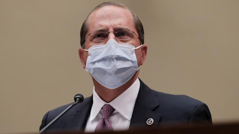 Health and Human Services Secretary Alex M. Azar II testifies before the House Select Subcommittee on the Coronavirus Crisis in the Rayburn Building on October 2, 2020 in Washington, DC. (Micahel A. McCoy/Getty Images)