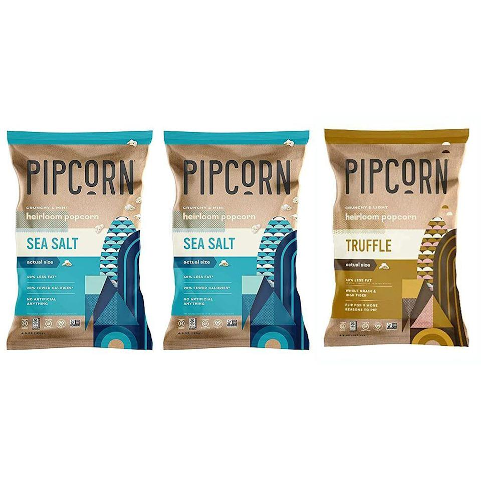 """<p><strong>Pipcorn</strong></p><p>amazon.com</p><p><strong>$14.99</strong></p><p><a href=""""https://www.amazon.com/dp/B09785Y7MV?tag=syn-yahoo-20&ascsubtag=%5Bartid%7C10063.g.37132591%5Bsrc%7Cyahoo-us"""" rel=""""nofollow noopener"""" target=""""_blank"""" data-ylk=""""slk:Shop Now"""" class=""""link rapid-noclick-resp"""">Shop Now</a></p><p>Give your snack bar a healthier option with a bag or two of Pipcorn's heirloom popcorn. Every batch is preservative- and GMO-free with 40% less fat than other packaged popcorn. There's something savory for everyone at your screening with this variety pack that offers both sea salt and truffle flavor. </p><p><strong>More:</strong> <a href=""""https://www.bestproducts.com/eats/food/g32783709/black-owned-food-and-drink-brands/"""" rel=""""nofollow noopener"""" target=""""_blank"""" data-ylk=""""slk:15 Standout Black-Owned Food and Drink Brands You Need to Know About"""" class=""""link rapid-noclick-resp"""">15 Standout Black-Owned Food and Drink Brands You Need to Know About</a></p>"""