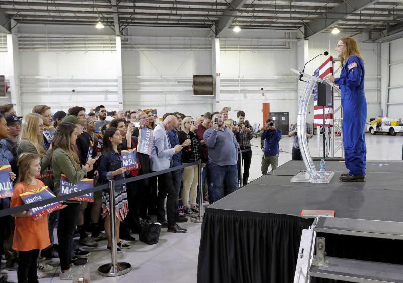 U.S. Rep. Martha McSally, R-Ariz., speaks at a rally, Friday, Jan. 12, 2018, in Phoenix. McSally announced Friday that she is running for the U.S. Senate seat being vacated by fellow Republican Jeff Flake. (AP Photo/Matt York)