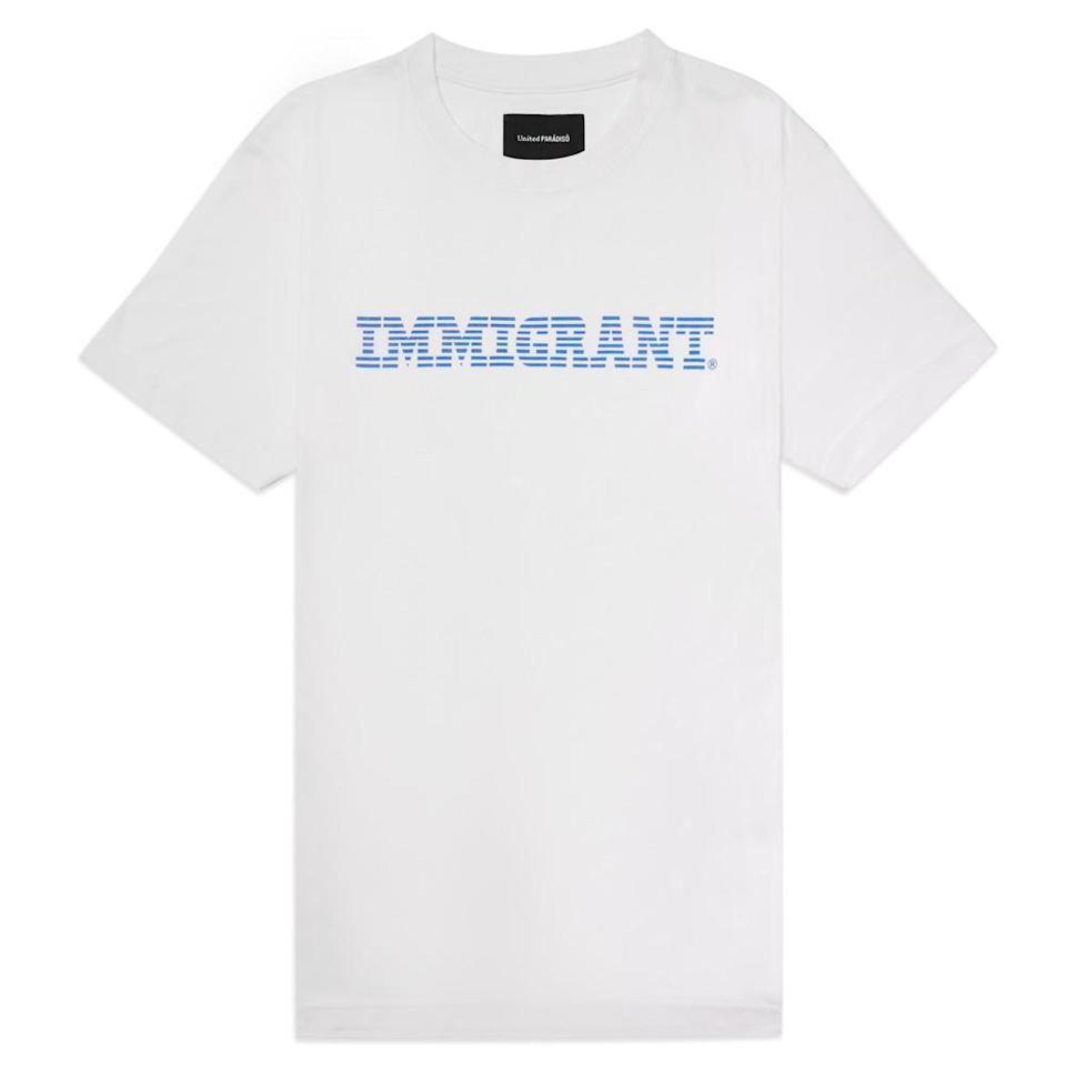 """<p><strong>United Paràdisô </strong></p><p>united-paradiso.com</p><p><strong>$80.00</strong></p><p><a href=""""https://united-paradiso.com/collections/all/products/white-immigrant-short-sleeved-supima%C2%AE-t-shirt"""" rel=""""nofollow noopener"""" target=""""_blank"""" data-ylk=""""slk:Shop Now"""" class=""""link rapid-noclick-resp"""">Shop Now</a></p>"""