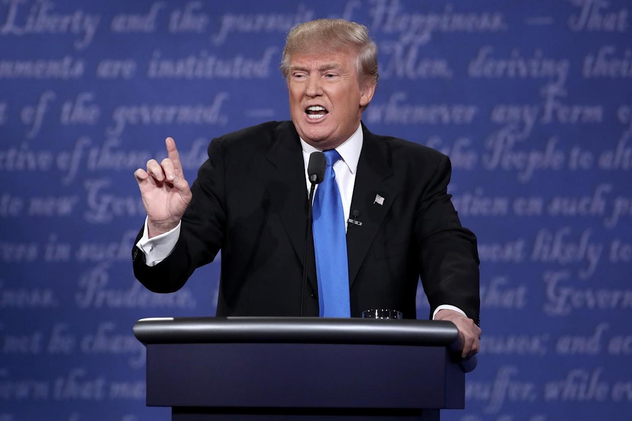 Donald Trump during the presidential debate at Hofstra University on Monday night. (Photo: Win McNamee/Getty Images)