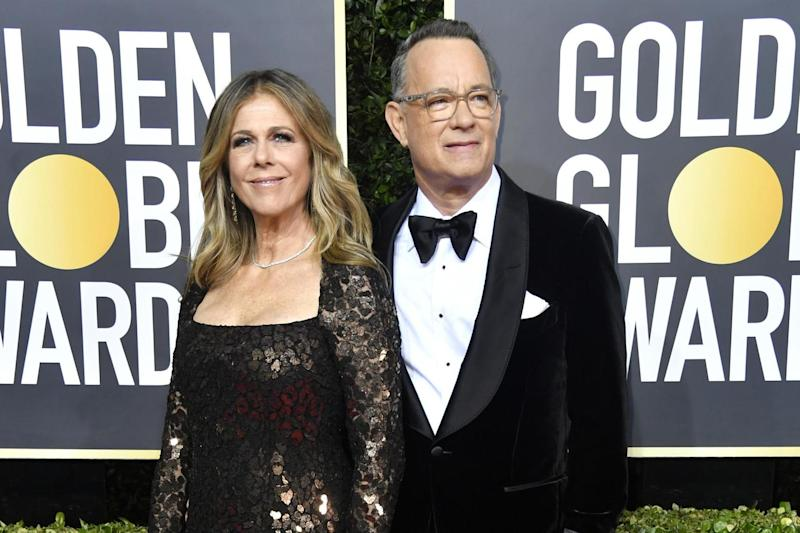 Rita Wilson and husband Tom Hanks looking slick on the red carpet: Photo by Frazer Harrison/Getty Images