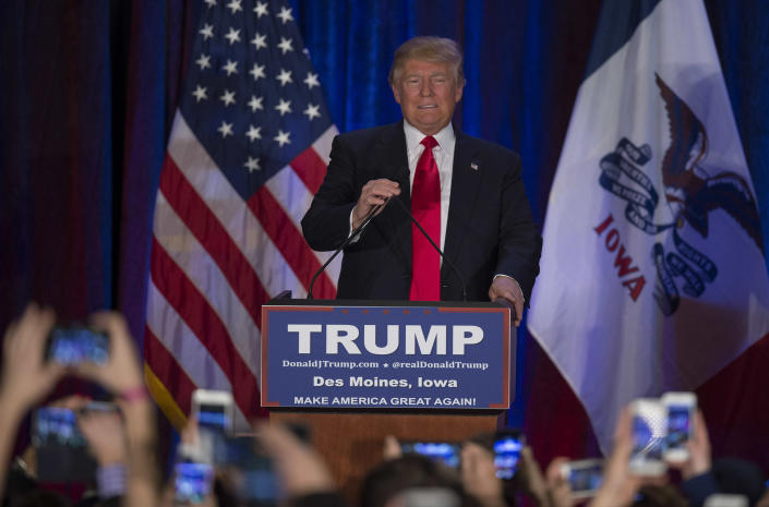 Republican presidential candidate Donald Trump on the campaign trail in Iowa in 2016. (Photo: Jim Watson/AFP/Getty Images)