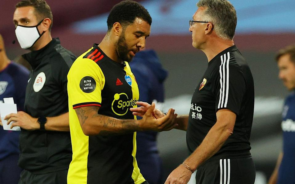 Troy Deeney shakes hands with Nigel Pearson - REUTERS