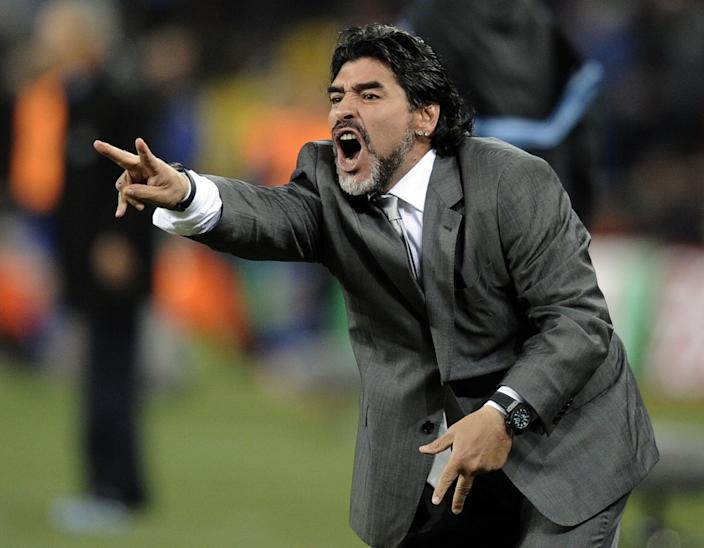 Diego Maradona yells instructions while coaching Argentina during a game against Mexico on June 27, 2010.
