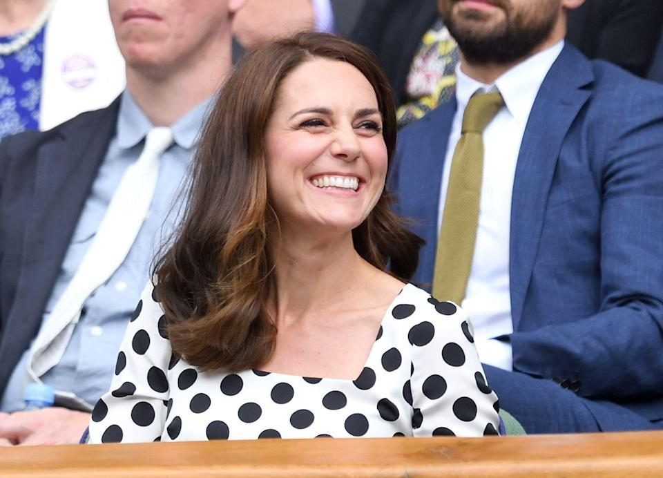 <p>Duchess Kate shows off a new haircut (and her chompers) on day 1 of Wimbledon.</p>