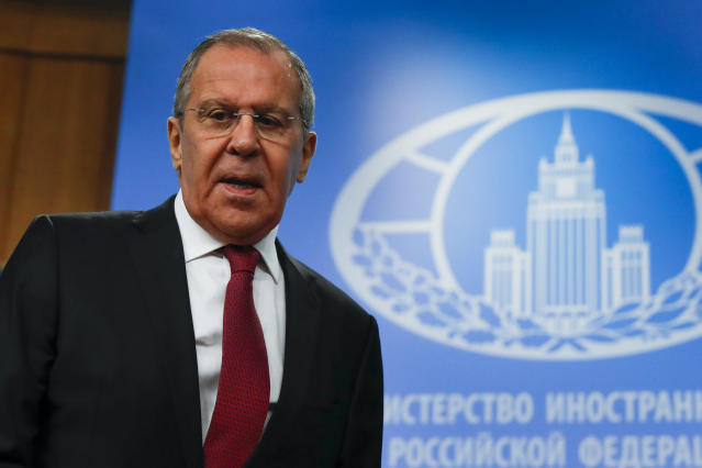 Russian Foreign Minister Sergey Lavrov arrives to attend an annual roundup news conference about his department's 2018 accomplishments in Moscow, Russia, Wednesday, Jan. 16, 2019. (AP Photo/Pavel Golovkin)