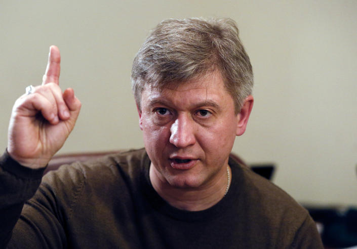 Oleksandr Danyliuk, former Ukrainian Minister of Finance and advisor to presidential candidate Volodymyr Zelenskiy, talks during an interview with The Associated Press in Kiev, Ukraine, Wednesday, April 3, 2019. The thriving campaign of comedian Volodymyr Zelenskiy to be Ukraine's president may seem improbable, but his campaign adviser says the country has reached the point where it needs reforms from seemingly unlikely sources. Oleksandr Danylyuk spoke to The Associated Press on Wednesday, three days after the election first round in which Zelenskiy easily outpaced incumbent Petro Poroshenko. (AP Photo Efrem Lukatsky)