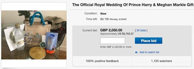 royal wedding guests selling gift bags on ebay days after prince