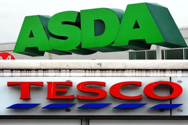 Asda and Tesco signs