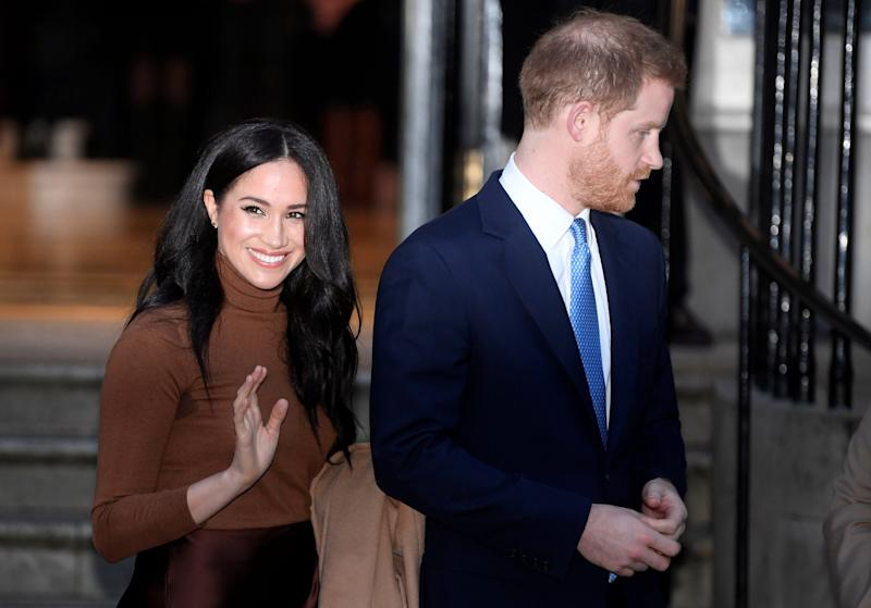 Britain's Prince Harry and his wife Meghan, Duchess of Sussex, leave Canada House in London, Britain January 7: REUTERS