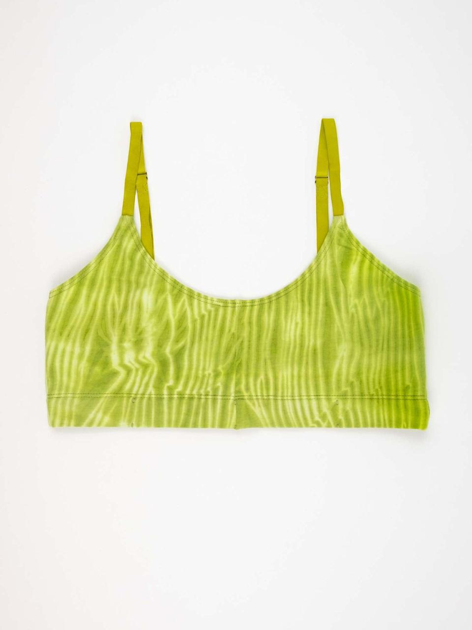 """Even though my bralettes have barely seen the light of day since pre-pandemic, I've been eyeing this beautiful, hand-dyed piece. I love that it's handmade and it looks super comfy too.<br><br><strong>Or Else</strong> Bralette Green, $, available at <a href=""""https://www.orelselabel.com/product/bralette-green/"""" rel=""""nofollow noopener"""" target=""""_blank"""" data-ylk=""""slk:Or Else"""" class=""""link rapid-noclick-resp"""">Or Else</a>"""