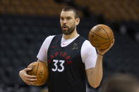 Toronto Raptors' Marc Gasol looks to pass a ball during an NBA basketball practice in Toronto, Sunday, June 9, 2019, ahead of Monday's Game 5 of the NBA Finals against the Golden State Warriors. (Chris Young/The Canadian Press via AP)