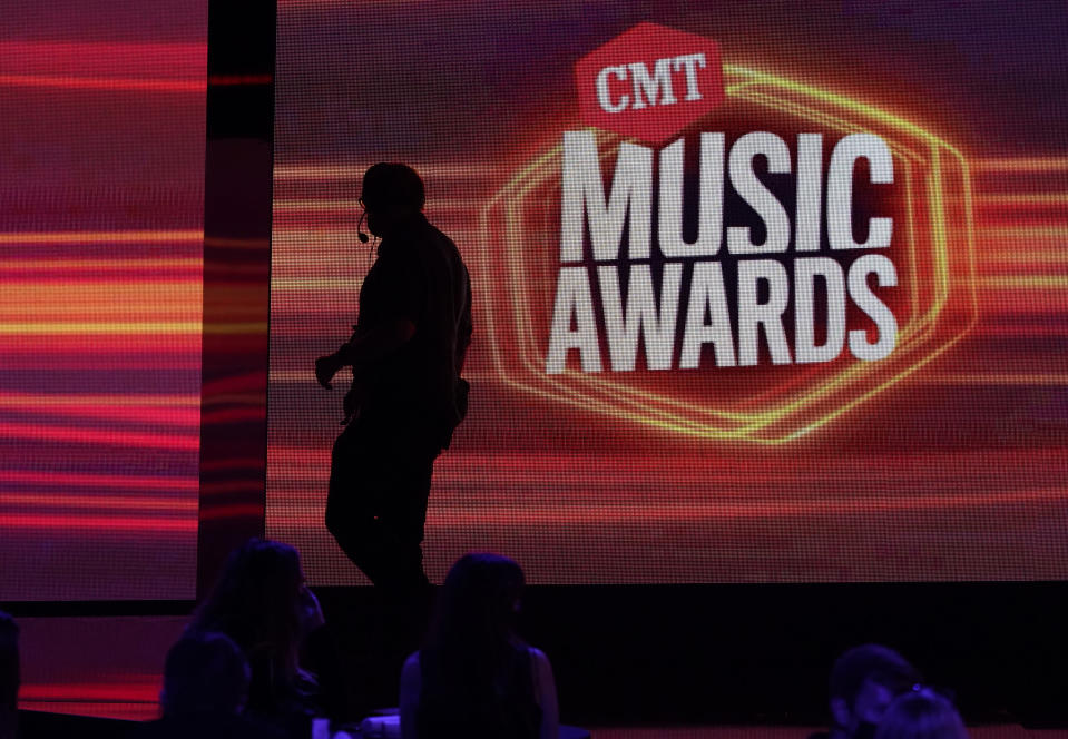A view of the stage appears before the start of the CMT Music Awards at the Bridgestone Arena on Wednesday, June 9, 2021, in Nashville, Tenn. (AP Photo/Mark Humphrey)