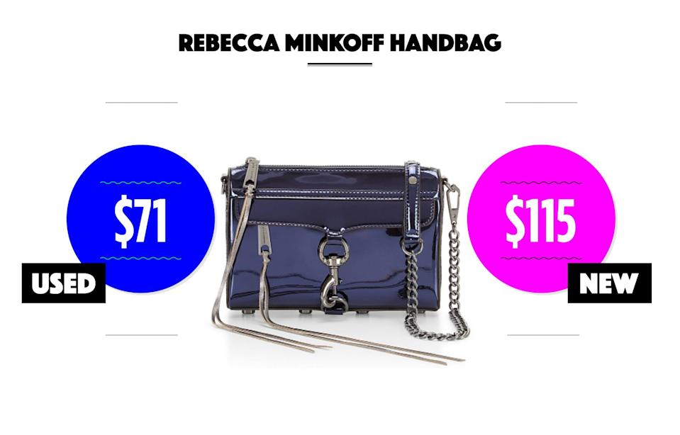 "<p>Used condition: $60-$71<br> New condition: $99-$115<br>Photo: Mini M.A.C. cross-body bag, $175, <a href=""http://www.rebeccaminkoff.com/mini-m-a-c-crossbody-hsp7gmmx01-admiral-s17?src=catalog"" rel=""nofollow noopener"" target=""_blank"" data-ylk=""slk:rebeccaminkoff.com"" class=""link rapid-noclick-resp"">rebeccaminkoff.com</a><br>eBay options: <a href=""http://www.ebay.com/sch/i.html?_odkw=rebecca+minkoff&LH_BIN=1&_osacat=169291&_from=R40&_trksid=p2045573.m570.l1313.TR10.TRC3.A0.H0.TRS1&_nkw=rebecca+minkoff&_sacat=169291"" rel=""nofollow noopener"" target=""_blank"" data-ylk=""slk:Rebecca Minkoff"" class=""link rapid-noclick-resp"">Rebecca Minkoff</a><br>(Data courtesy of eBay) </p>"