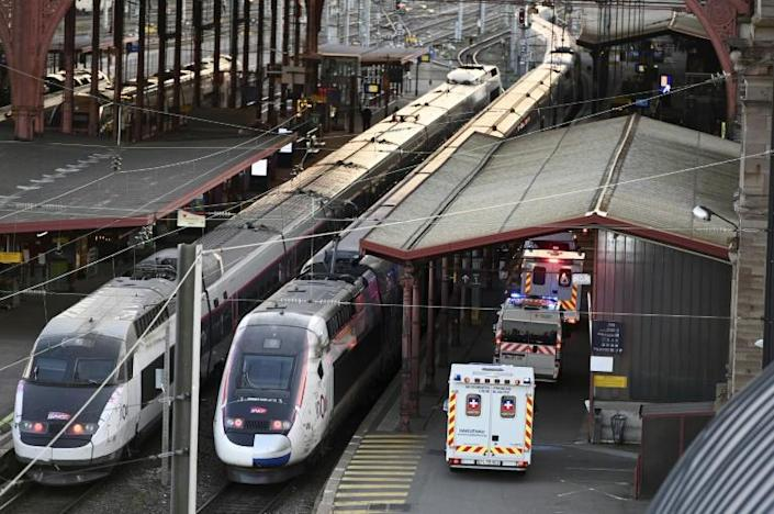 The specially adapted high-speed TGV train evacuated 20 patients from the Alsace region bordering Germany and Switzerland (AFP Photo/FREDERICK FLORIN)