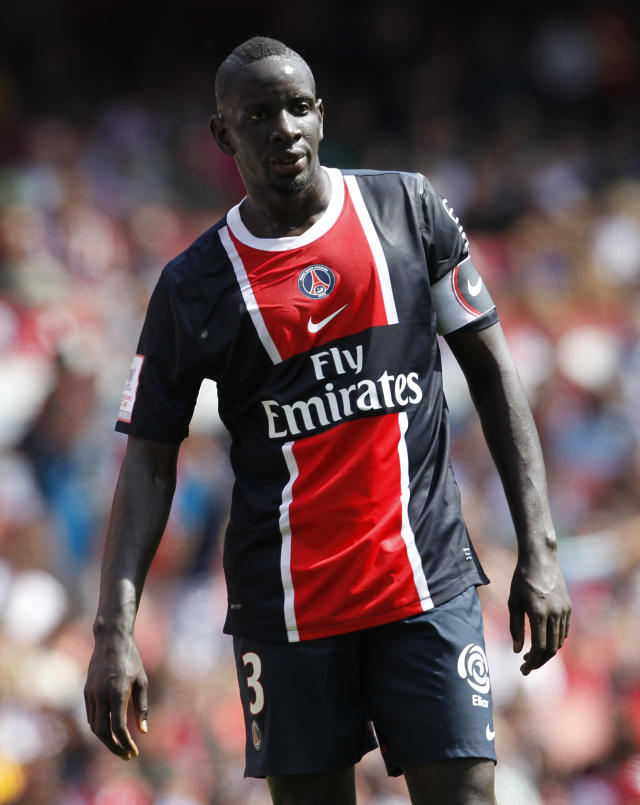 FOR EDITORIAL USE ONLY Additional licence required for any commercial/promotional use or use on TV or internet (except identical online version of newspaper) of Premier League/Football League photos. Tel DataCo +44 207 2981656. Do not alter/modify photo. Captain of Paris Saint-Germain Mamadou Sakho reacts during the match against New York Red Bulls during their Emirates Cup football match at Emirates Stadium in London, on July 30, 2011. AFP PHOTO/IAN KINGTON (Photo credit should read IAN KINGTON/AFP/Getty Images)