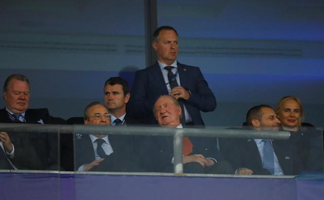Soccer Football - Champions League Final - Real Madrid v Liverpool - NSC Olympic Stadium, Kiev, Ukraine - May 26, 2018 Former king Juan Carlos I of Spain in the stands before the match REUTERS/Kai Pfaffenbach