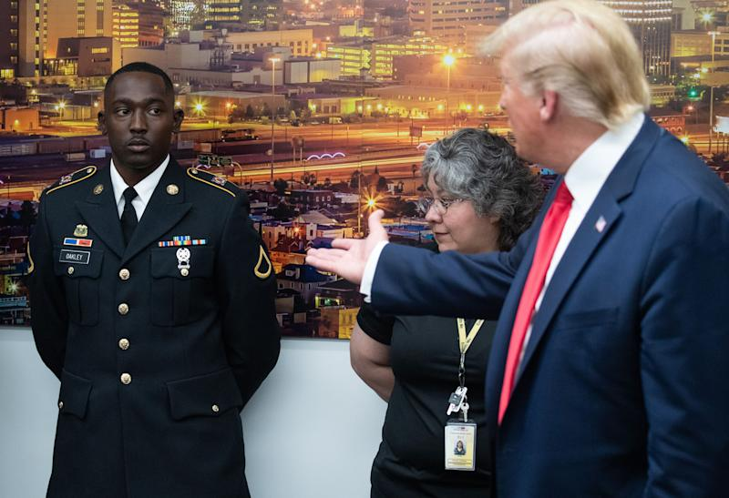 """President Trump told Army hero Glendon Oakley, who rescued multiple children during the El Paso mass shooting, """"You could be a movie star, the way you look."""" (Photo: Getty Images)"""