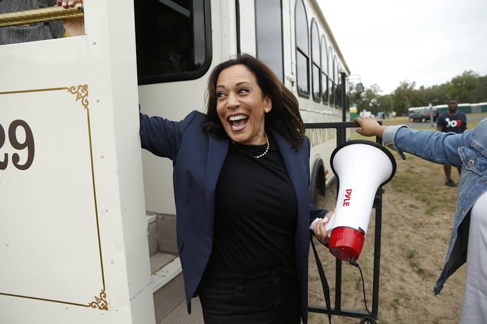 <p>Kamala showed off a modern gold strand of pearls at the Blue Jamboree in North Charleston, SC in October 2019, finished more casually with dark denim and a navy blazer.</p>