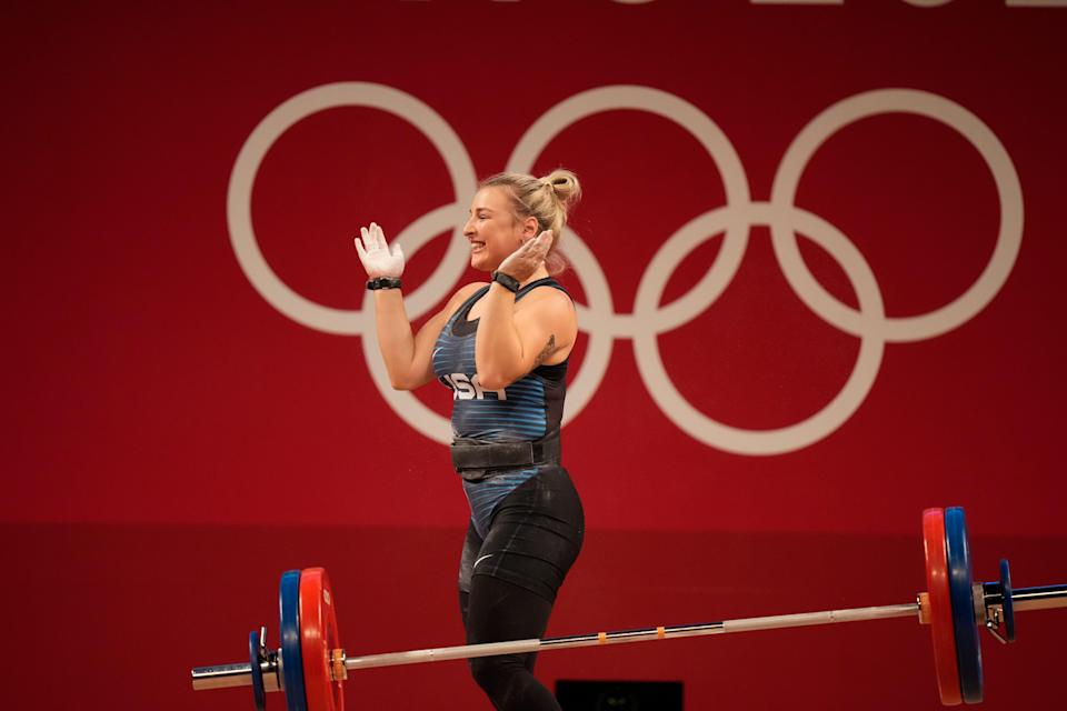 Kate Nye of the United States competes in the women's 76kg weightlifting event.