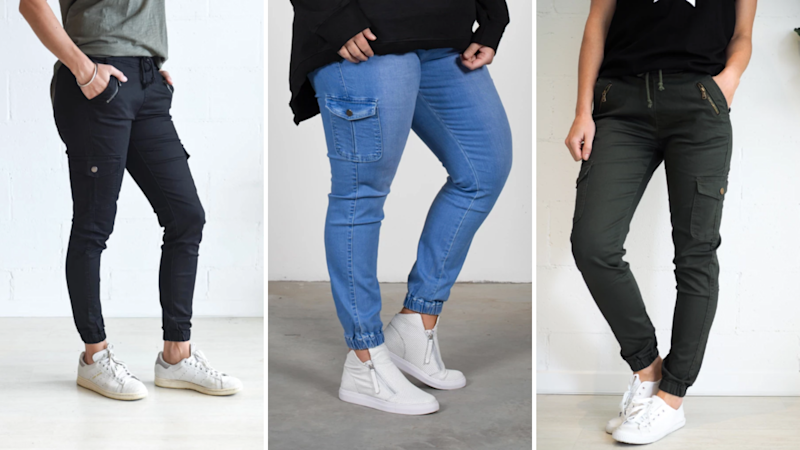 Pictured: Models wearing three different variations of the Jenni Jogger pants. Image: Evergreen Clothing