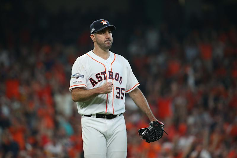 Justin Verlander tossed seven innings of one-hit ball and led the Astros to a Game 1 win. (Troy Taormina-USA TODAY Sports)
